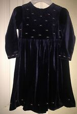 Laura Ashley Mother & Child Little Girls Dark Blue Velvet Dress 4 EUC Holiday