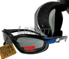 Curv-Z foam insulated motorcycle skydive glasses Blue Brush - Dark lens 02-29