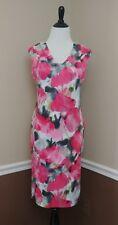 Coral Pink Watercolor Floral Dress 6 M Neoprene Midi Sheath Donna Ricco Modcloth