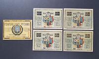 KAPPELN NOTGELD 25, 4x 50 PFENNIG 1920 EMERGENCY MONEY GERMANY BANKNOTES (8580)