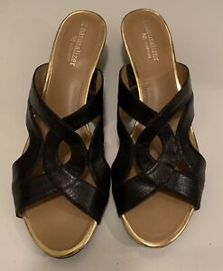 Naturalizer Black Leather Slip On Dress Sandals w Brass Details sz 9