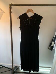VINTAGE BLACK EVENING DRESS CRUSHED VELVET AND CRYSTALS 1950