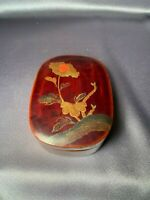Antique Hand-painted Gold Amber Edo Japanese Lacquer Box 19th Century Beautiful!