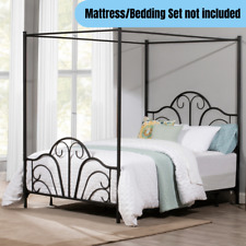 Queen Size Metal Canopy Bed Frame Elegant Whimsical Scrolls & Arch Design Black