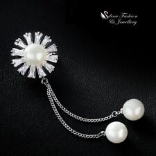Double Chain Pearl Drop Sunflower Brooch 18K White Gold Filled Simulated Diamond