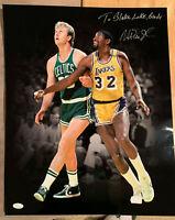 Magic Johnson Los Angeles Lakers Autographed 16x20 vs Larry Bird