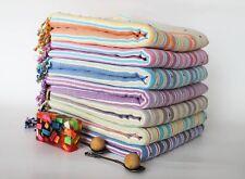 Pompon Turkish Peshtemal Hammam Beach Towel - All Colours - NEW - 100% Cotton