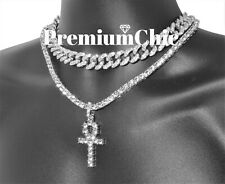 Mens ANKH Pendant + Tennis Chain + Miami Cuban Choker Necklace Silver Plated SET