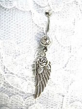 NEW DOUBLE SIDED ANGEL WING w ROSE FLOWER CHARM ON 14G CLR CZ BELLY BUTTON RING