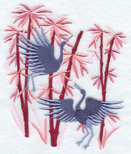 Cranes And Bamboo Embroidered Set Of 2 Hand Towels Bath