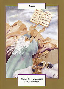 GREETING CARD spiritual art MOSES Saints and Sages gold border christian