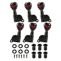 Electric Acoustic Guitar Tuning Pegs Machine Heads 3x3 Black Skull Sealed Gear