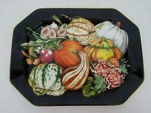 Williams Sonoma Harvest Platter Large Octagonal Black Multi Color Pumpkin Fruit