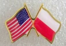 US and Poland crossed flags lapel pin, made in USA