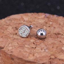 Helix Ear Crystal CZ Cartilage Body Piercing Tragus Bars Single Earring Gift UK