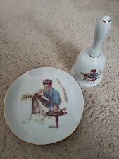 1986 Vintage Norman Rockwell Missing The Dance Bell And Plate Set