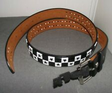 NWOT HOT TOPIC RED BLACK STAR CHECK CHECKERED LEATHER BELT L 38-40 GOTH PUNK