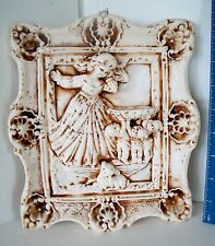 LP17 (M6) Beautiful Vintage Plaster Cast Angel with Deer Wall Plaque