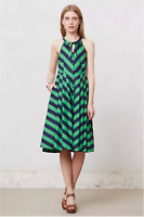 NWT Girls From Savoy Anthropologie Button Bow Green Navy Stripe Dress Pockets 4