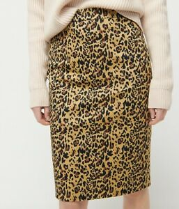 J.Crew NWT No 2 Pencil Skirt in Leopard Print Bi Stretch Cotton 10 Knee Length