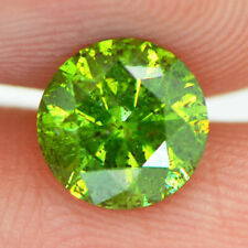 Loose Round Shape Diamond Real Fancy Green Color 1.15 ct I1 Enhanced Certified