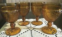 VINTAGE SET OF 4  FOOTED WATER TIARA INDIANA GLASS GOBLETS AMBER SANDWICH DAISY