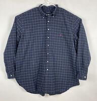 Polo Ralph Lauren Men's Classic Fit Blue Red L/S Button Down Shirt 4XLT TALL EUC