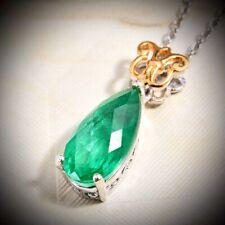 NEW 5.30cts Emerald Triplet Quartz, High Polish Gold Vermeil, Platinum Necklace