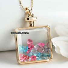 Large Gold Heart & Multi Crystal Pendant Necklace Love Gifts For Her Wife Women