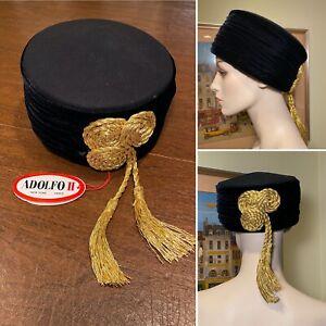 New w/ Tag Vintage ADOLFO II Black Wool & Pleated Velvet Gold Tassel Pillbox Hat