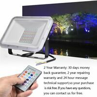 30W 50W 100W LED RGB Flood Light Outdoor Color Changing Lights W/ Remote Control