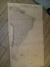 Vintage Admiralty Chart 2022B SOUTH ATLANTIC OCEAN - WESTERN PORTION 1930 edn