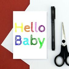New baby card - rainbow card - hello baby card - new parents card - welcome baby