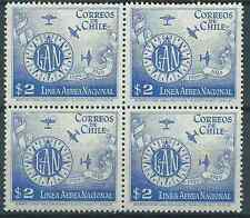 CHILE 1949 LAN 20 years Linea Aerea Nacional 2 pesos block of 4 MNH