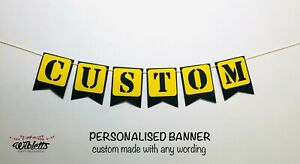 CONSTRUCTION SIGN THEME CUSTOM PERSONALISED BIRTHDAY PARTY BANNER, YELLOW BLACK
