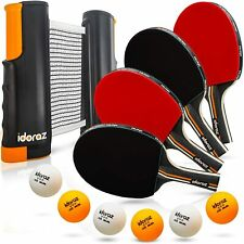 Ping Pong Paddle Set of 4 Premium Table Tennis Rackets with 8 Professional Balls