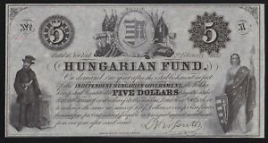 HUNGARY -- 5 HUNGARIAN FUND 1852 --- FIVE DOLLARS ------ XF ----