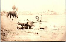 RPPC South American Kid Bulldogging Cowboy Rodeo Real Photo Postcard