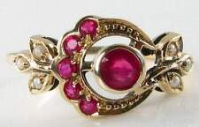 9K GOLD VINTAGE INS INDIAN RUBY & SEED PEARL SUN & MOON RING