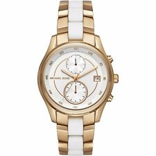 Michael Kors MK 6466 Damenchronograph  Weiß Gold Neu