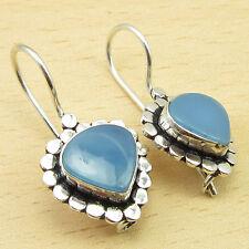"""Silver Plated Earrings Jewelry 1.2"""" Beautiful Heart Blue Chalcedony Gems"""
