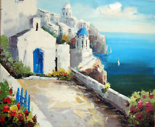 Greek Isle Churches Homes Aegean Sea 20X24 Oil On Canvas Painting  Stretched