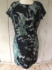 Zara Bleu Vert huile sur l'eau effet Jacquard Robe Taille L UK 12 Occasion Fête