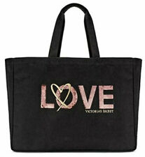 NWT Victorias Secret 2018 Limited Edition Tote Bag Black With Pink Sequins LOVE