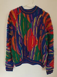 🔶️COOGI VINTAGE RETRO KNIT JUMPER SWEATER RAINBOW WOOL 80's  Needs Mend
