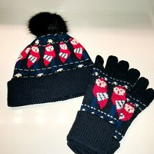 VERA BRADLEY Cozy Knit Hat & Tech Gloves **NIGHT OWLS**  NWT