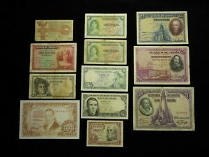 Spain, Collection of 12x Banknotes