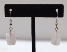 Earrings Rose Quartz Cube Dangle Earrings 32mm