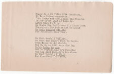 Original Wendell Willkie Typed Poem / Song Lyric from 1940 Presidential Campaign