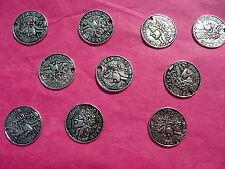 Tibetan Silver Coin Charm 18mm  - 10 per pack